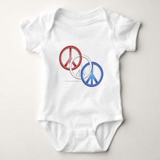 Paz azul blanca roja body para bebé