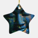 Paz azul de Buda OM Adorno Navideño De Cerámica En Forma De Estrella