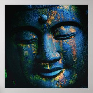 Paz azul de Buda OM Poster