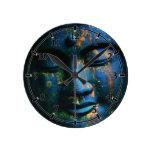 Paz azul de Buda OM Reloj Redondo Mediano