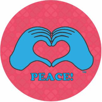 Paz azul de HeartMark sobre el poder rojo tejado s Escultura Fotográfica