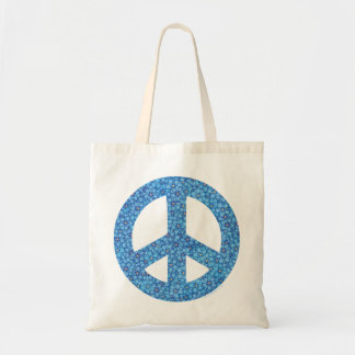 Paz azul de la flor bolsa tela barata