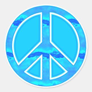 Paz azul helada pegatina redonda