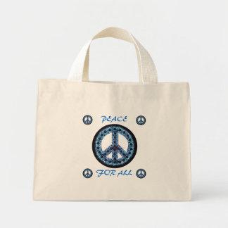 paz azul para todo el bolso bolsa tela pequeña
