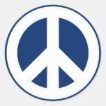 Paz azul y blanca pegatina redonda