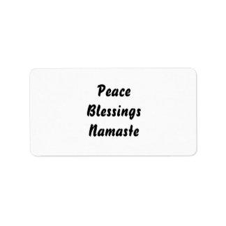 Paz, bendiciones, Namaste. Blanco negro Etiqueta De Dirección