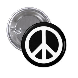 Paz BnW Pin Redondo De 1 Pulgada