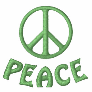 PAZ bordada del signo de la paz y de la palabra