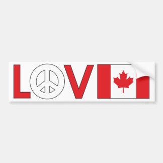 Paz Canadá del amor Pegatina Para Auto