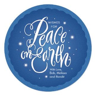 """Paz chispeante en la tierra invitación 5.25"""" x 5.25"""""""