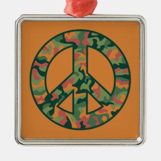 Paz colorida de Camo Adorno Navideño Cuadrado De Metal