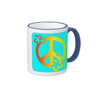 paz con colores del rasta de las flores taza a dos colores