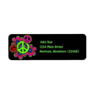 Paz con la etiqueta del remite de las flores etiqueta de remite