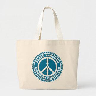 Paz con la potencia de fuego superior - azul bolsa tela grande