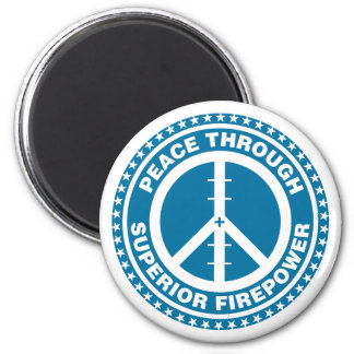 Paz con la potencia de fuego superior - azul imán para frigorifico