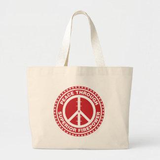 Paz con la potencia de fuego superior - rojo bolsa tela grande