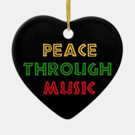Paz con música adorno de navidad