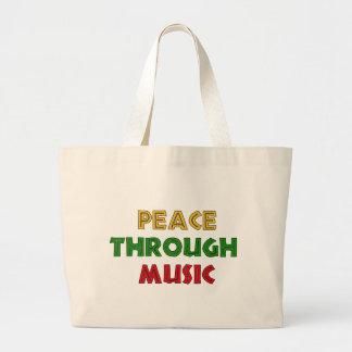 Paz con música bolsas de mano