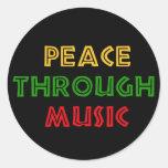 Paz con música etiquetas redondas