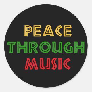 Paz con música pegatina redonda