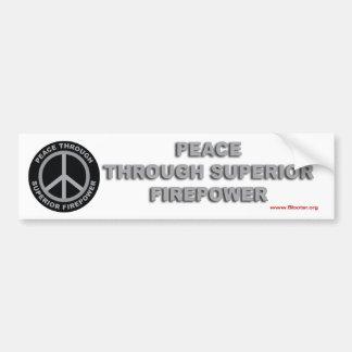 Paz con potencia de fuego superior pegatina de parachoque