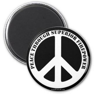 Paz con potencia de fuego superior imán redondo 5 cm