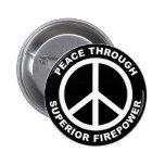 Paz con potencia de fuego superior pin