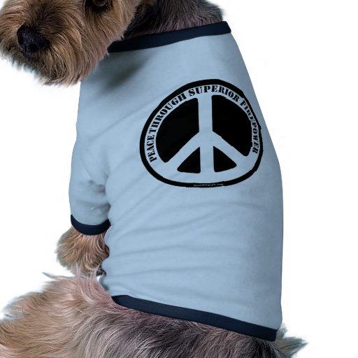 Paz con potencia de fuego superior camisas de perritos