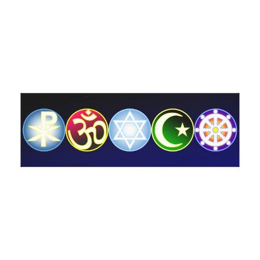 Paz con religiones del mundo lona estirada galerías