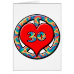 Paz, corazón, 30 felicitación