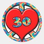 Paz, corazón, 30 pegatinas redondas