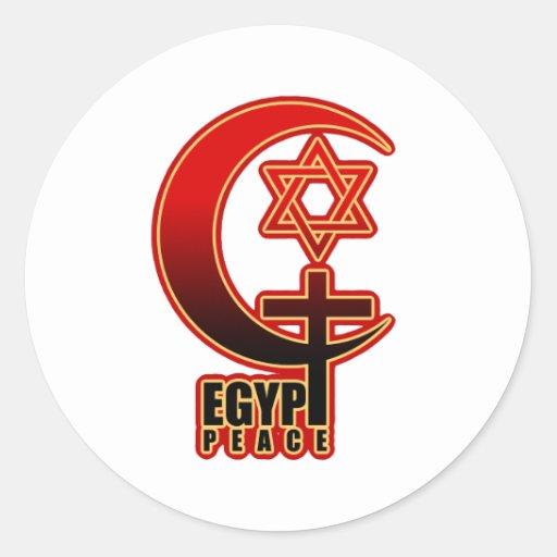 PAZ cristiana musulmán de EGIPTO del judío Pegatina Redonda