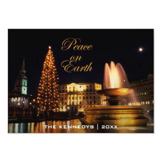 """Paz - cuadrado de Trafalgar en el navidad, Londres Invitación 5"""" X 7"""""""
