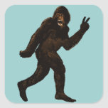 Paz de Bigfoot Calcomanía Cuadradase