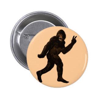 Paz de Bigfoot Pin Redondo De 2 Pulgadas