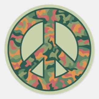 Paz de Camo Pegatina Redonda