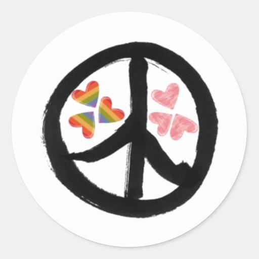 Paz de corazones pegatina redonda