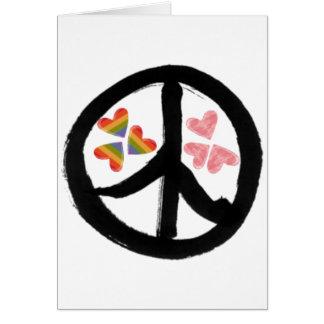 Paz de corazones tarjeta de felicitación