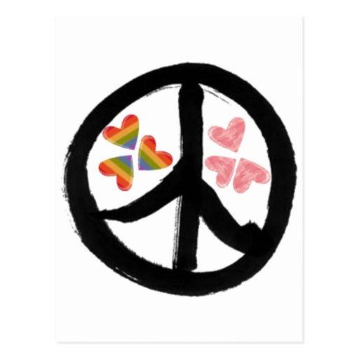 Paz de corazones tarjeta postal