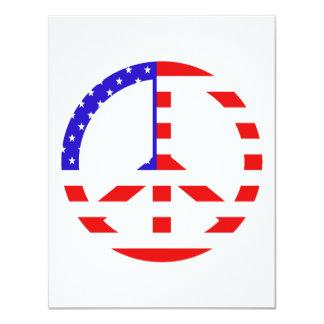 """Paz de la bandera americana invitación 4.25"""" x 5.5"""""""