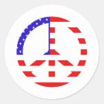 Paz de la bandera americana pegatinas redondas