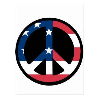 Paz de la bandera americana postal