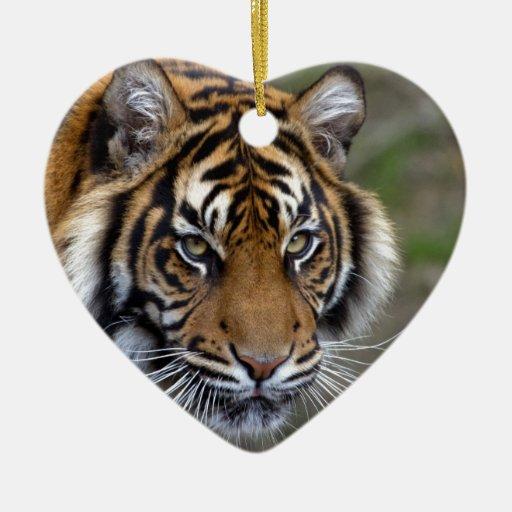 Paz de la confianza del poder y tigre tranquilo de adorno de cerámica en forma de corazón