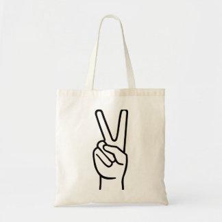 Paz de la mano bolsa tela barata