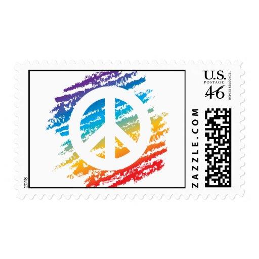 Paz de la raya vertical del arco iris franqueo