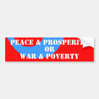 paz de los años 50 y prosperidad y guerra y pobrez pegatina para auto