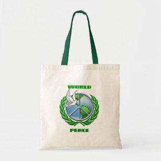 Paz de mundo bolsa tela barata