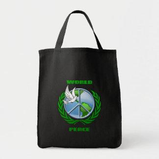Paz de mundo bolsa tela para la compra