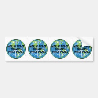 Paz de mundo con paz interna etiqueta de parachoque