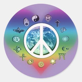 Paz de mundo con símbolos religiosos pegatina redonda